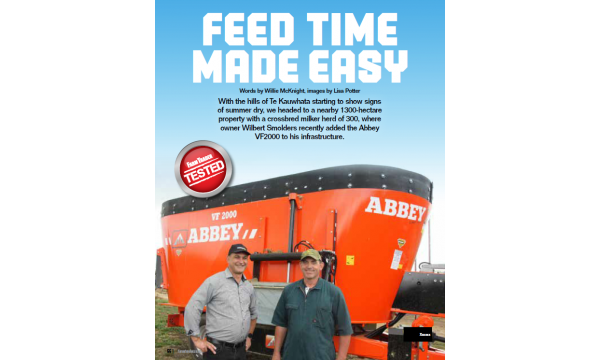Abbey VF2000 Diet Feeder featured in New Zealand's Farm Trader Magazine